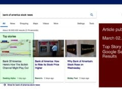 SEO For My Articles: Bank Of America Article Was A Top Story On Google